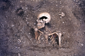 A SKELETON EXPOSED DURING EXCAVATION