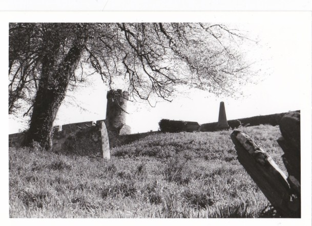 1985 youghal town walls viewed from the graveyard of st. mary's collegiate church